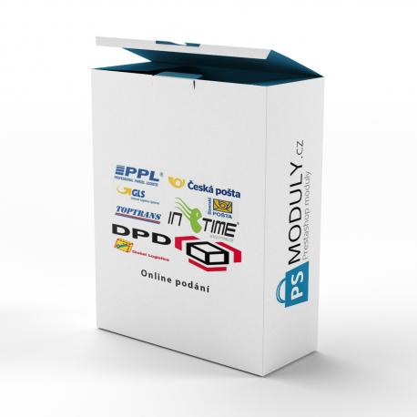 Online podání - Česká Pošta + DPD + GLS + InTime + PPL + TopTrans + Geis + DHL - CSV / XML export