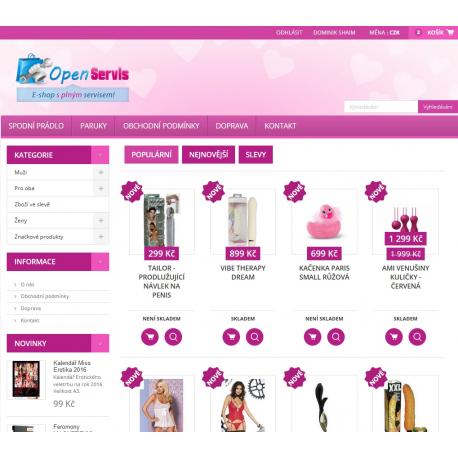 Plně automatický e-shop napojený na dodavatele sexicekshop.cz (Erotické zboží)
