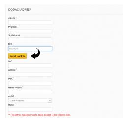 ARES - Automatické doplnění údajů po zadání IČ
